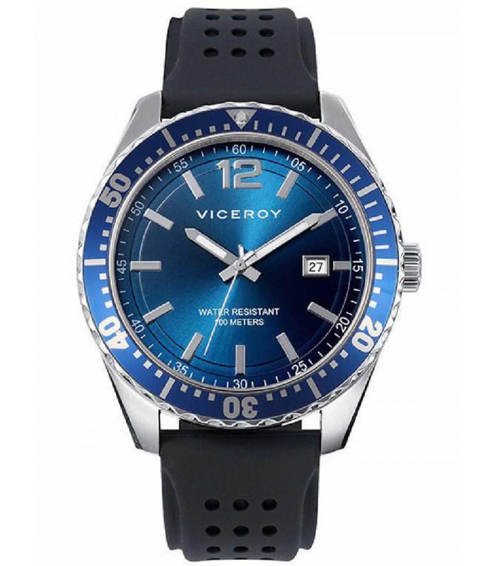 Reloj Viceroy cab caucho negro y esfera azul-40499-35