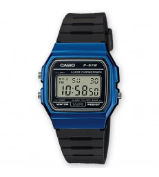 Reloj Casio digital azul/negro-F-91WM-2AEF