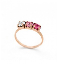 Anillo plata triple crystal rosse-A3405-36A