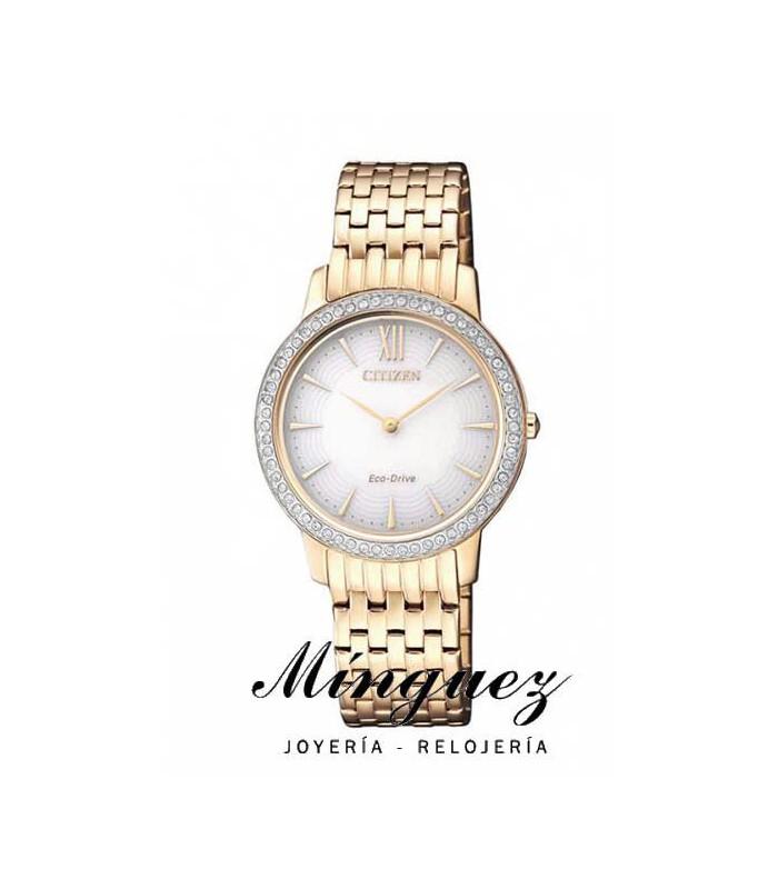 Reloj Citizen sra dorado con cristales Swarovski-EX1483-84A