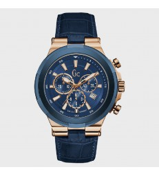 Reloj Guess Collection acero rosado y piel azul-Y23006G7