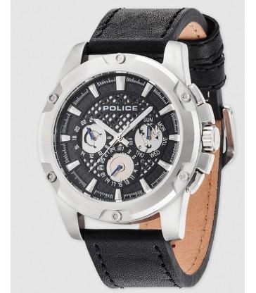 Reloj Police Grid cab acero y piel negra-R1451271001