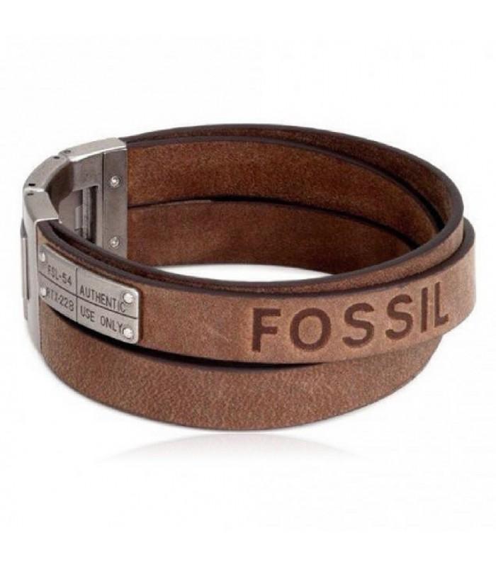 e68cd78ccd69 Pulsera Fossil acero y cuero 3 vueltas-JF84955040