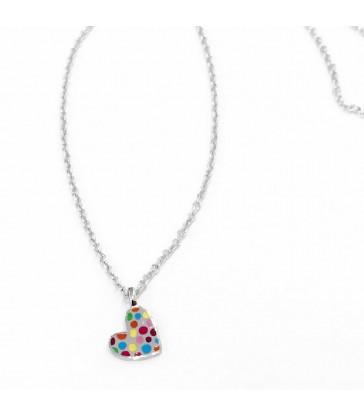 Collar plata corazón pecas-105PEC