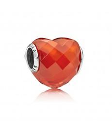 CHARM PLATA CRISTAL forma de amor naranja-796563OCZ