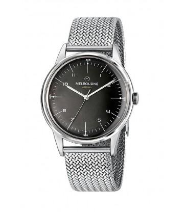 Reloj Melbourne Plata Esfera Negra-MEL-30-02